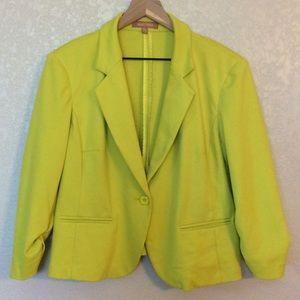 Ellen Tracy XL Lime Green Scrunch Wrist Blazer